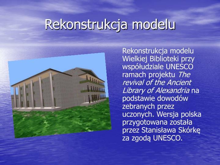 Rekonstrukcja modelu