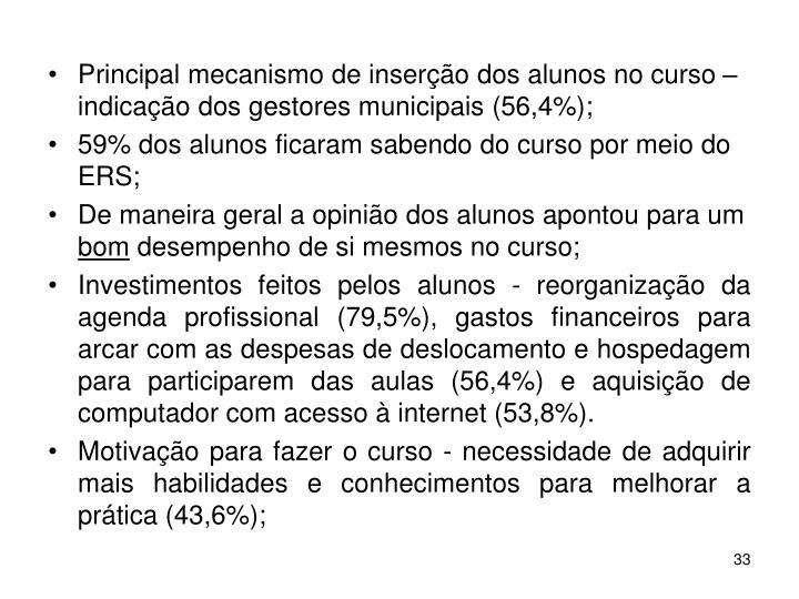 Principal mecanismo de inserção dos alunos no curso – indicação dos gestores municipais (56,4%);