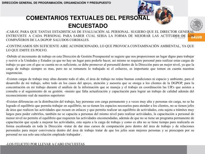 COMENTARIOS TEXTUALES DEL PERSONAL