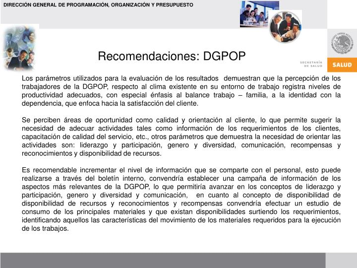 Recomendaciones: DGPOP