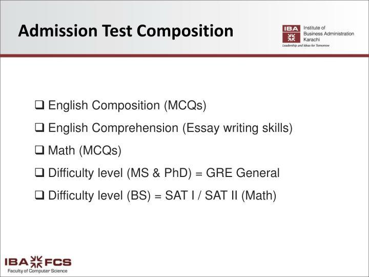 Admission Test Composition