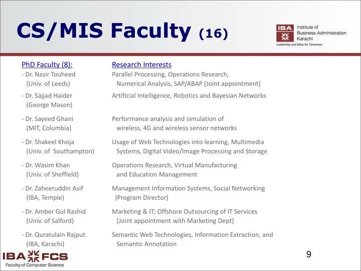 CS/MIS Faculty