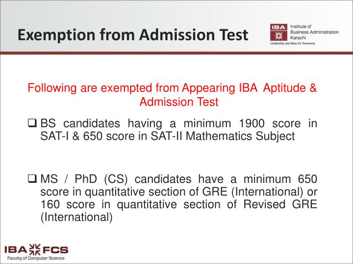Exemption from Admission Test