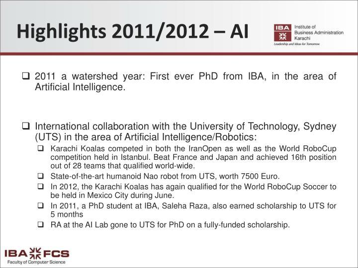 Highlights 2011/2012 – AI