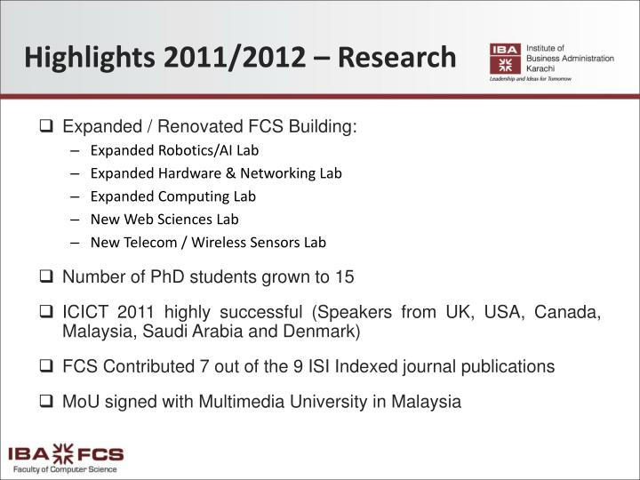 Highlights 2011/2012 – Research