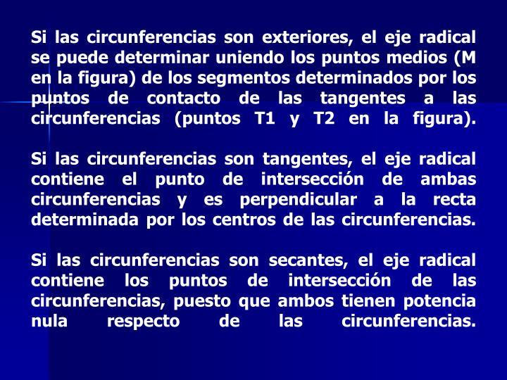Si las circunferencias son exteriores, el eje radical se puede determinar uniendo los puntos medios (M en la figura) de los segmentos determinados por los puntos de contacto de las tangentes a las circunferencias (puntos T1 y T2 en la figura).