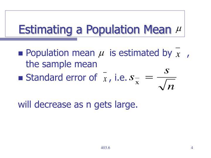 Estimating a Population Mean