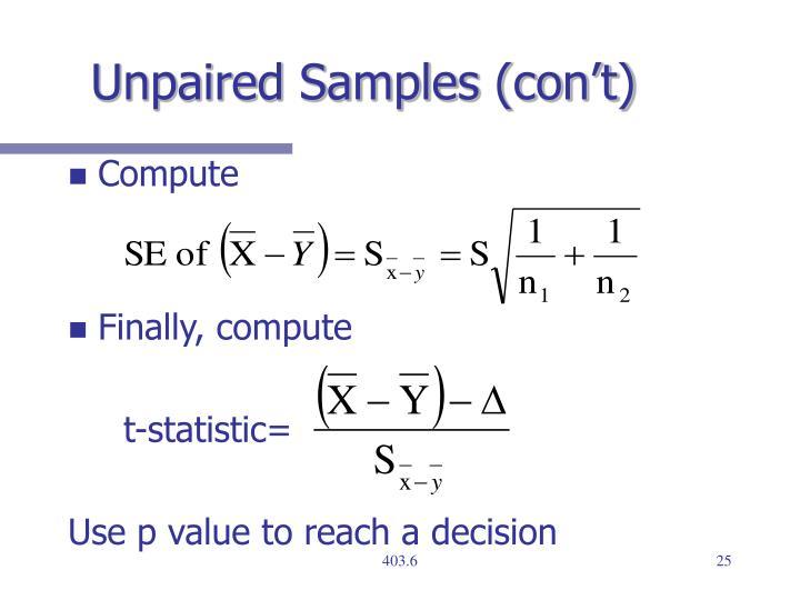 Unpaired Samples (con't)