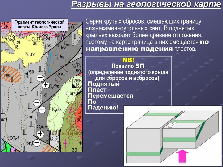Разрывы на геологической карте