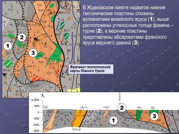 В Ждановском пакете надвигов нижние тектонические пластины сложены вулканитами визейского яруса (