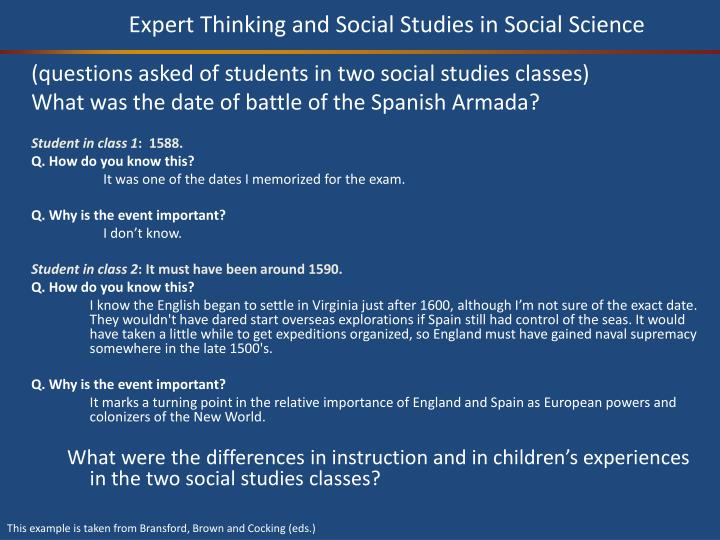 Expert Thinking and Social Studies in Social Science