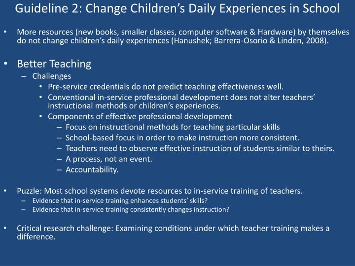 Guideline 2: Change Children's Daily Experiences in School