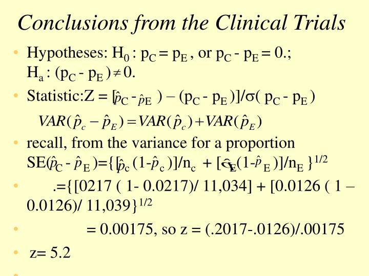 Conclusions from the Clinical Trials