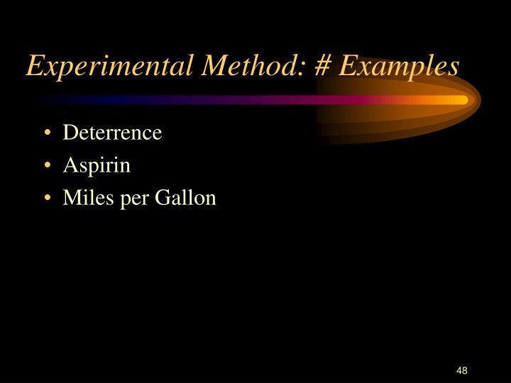 Experimental Method: # Examples