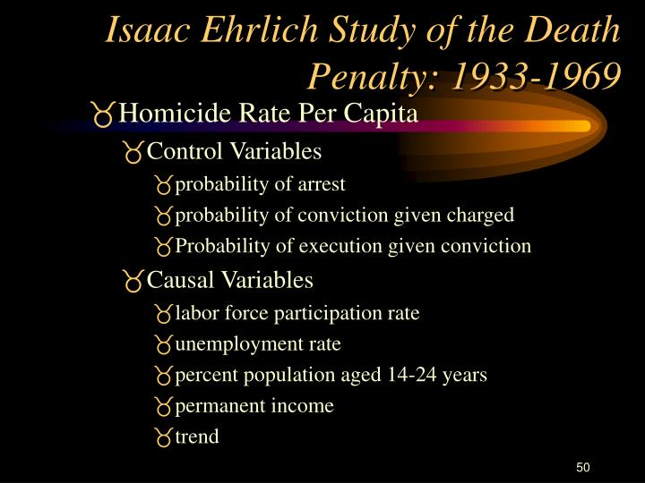 Isaac Ehrlich Study of the Death Penalty: 1933-1969