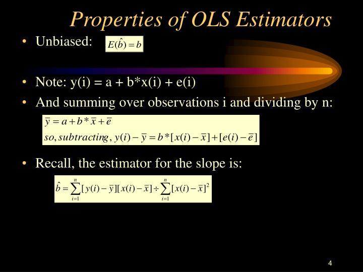 Properties of OLS Estimators