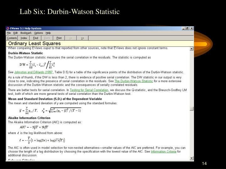 Lab Six: Durbin-Watson Statistic