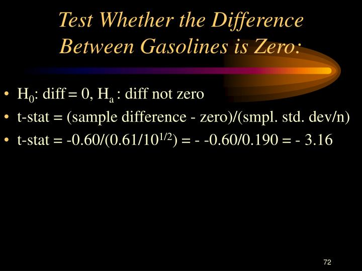 Test Whether the Difference Between Gasolines is Zero:
