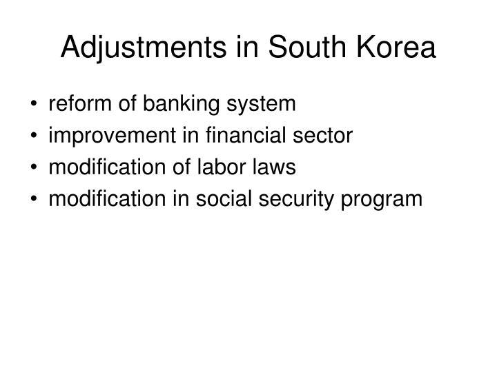 Adjustments in South Korea