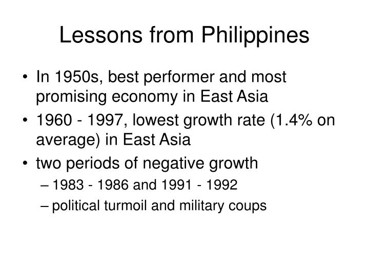 Lessons from Philippines