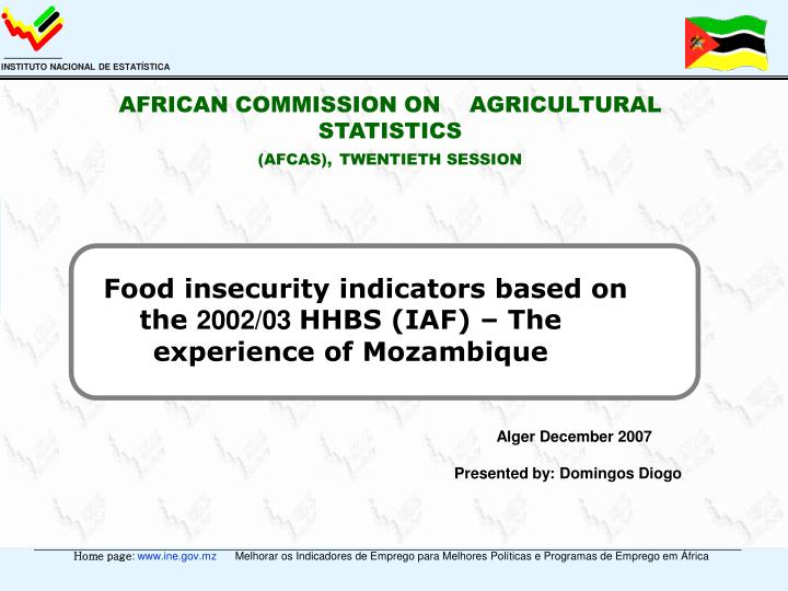 AFRICAN COMMISSION ON    AGRICULTURAL STATISTICS