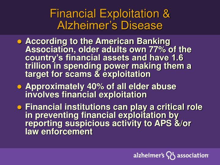 Financial Exploitation & Alzheimer's Disease