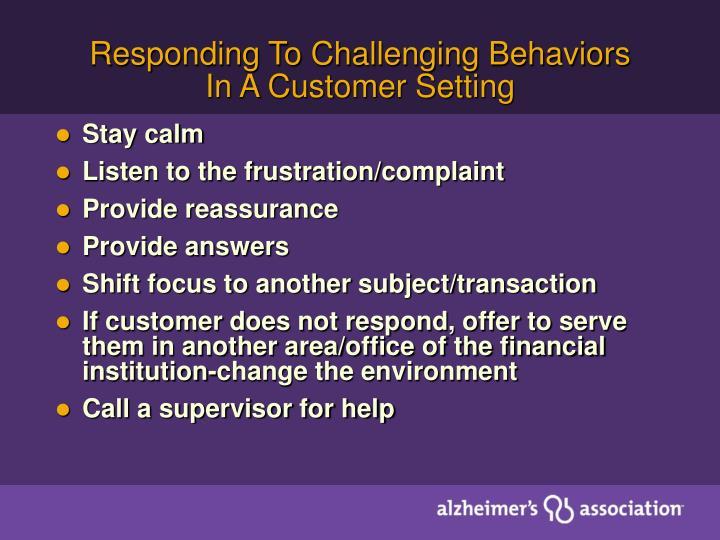 Responding To Challenging Behaviors