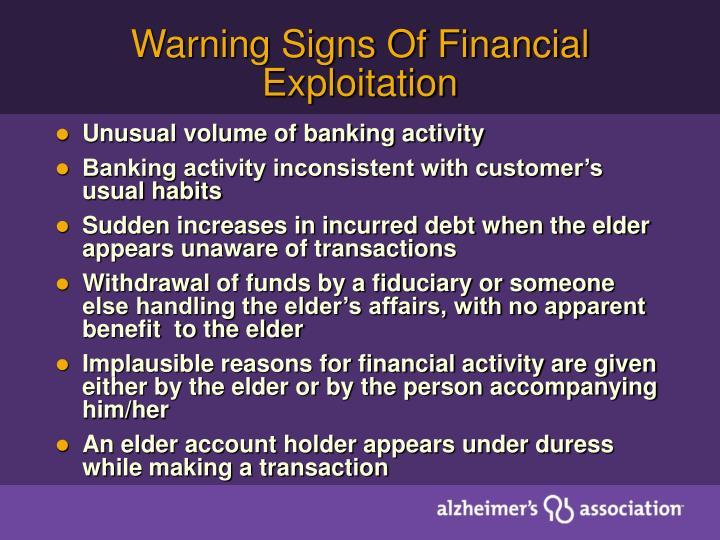 Warning Signs Of Financial Exploitation