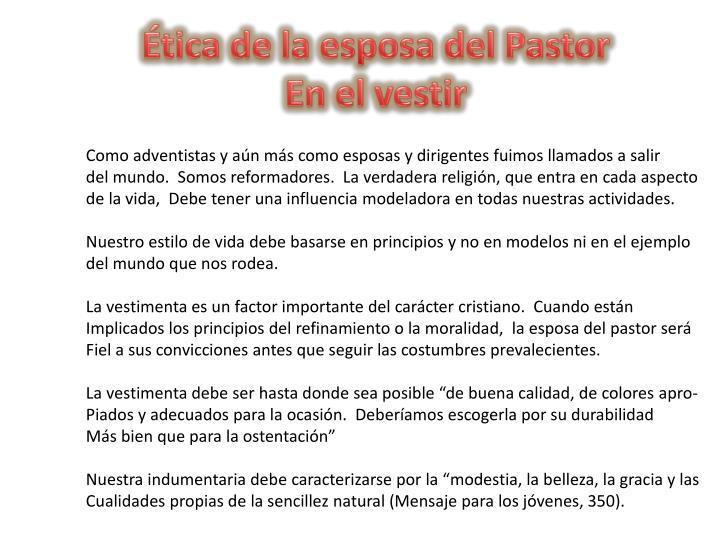 Ética de la esposa del Pastor