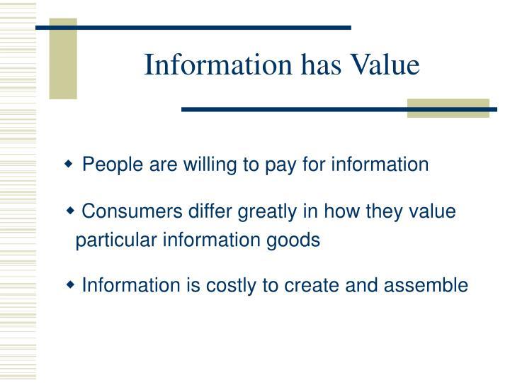 Information has Value