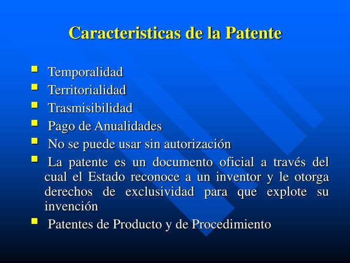 Caracteristicas de la Patente