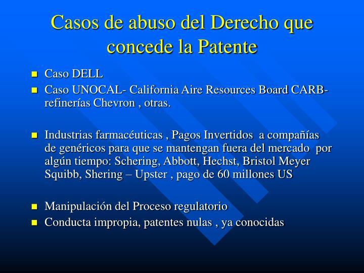 Casos de abuso del Derecho que concede la Patente
