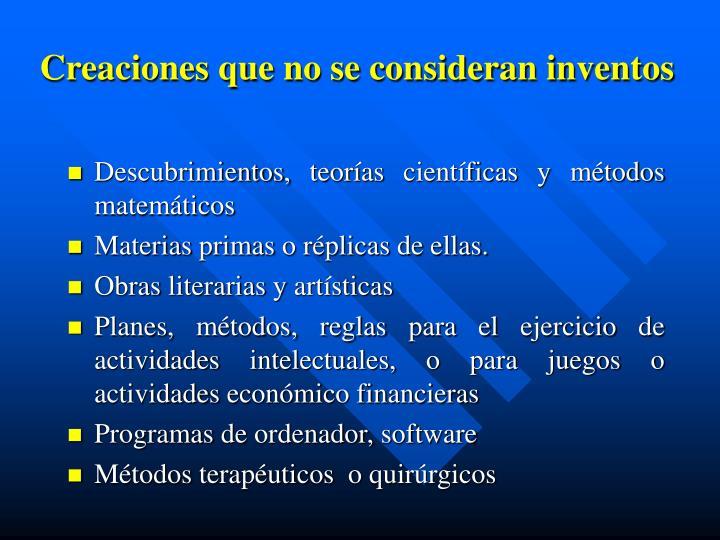 Creaciones que no se consideran inventos