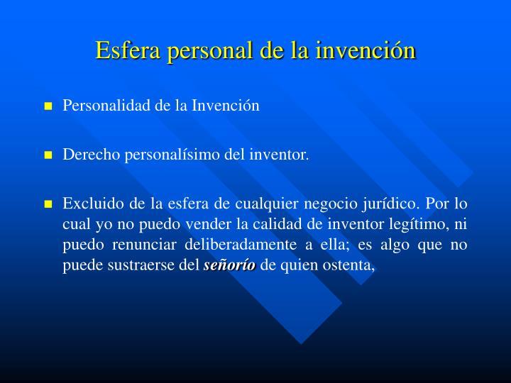 Esfera personal de la invención