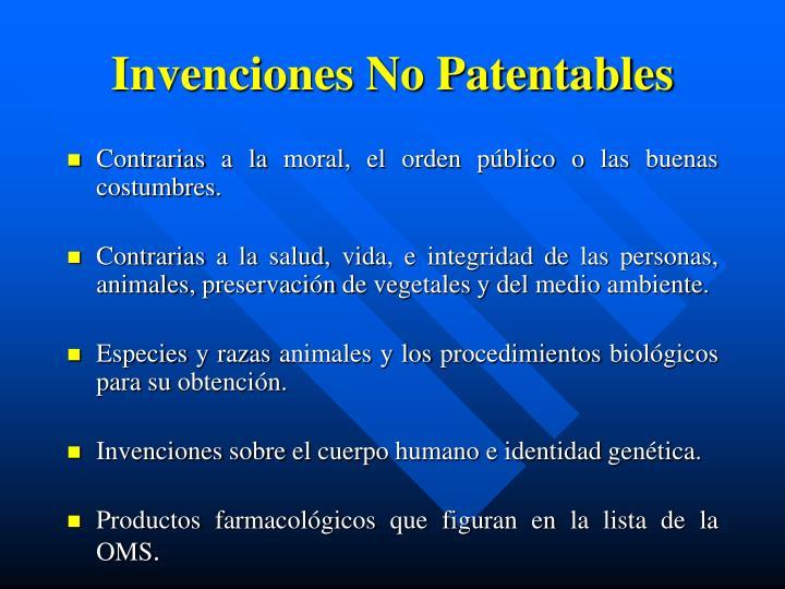 Invenciones No Patentables