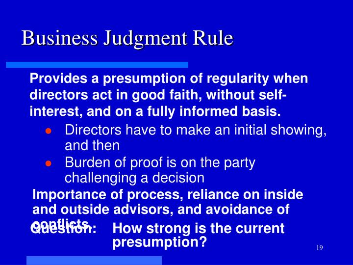 Business Judgment Rule