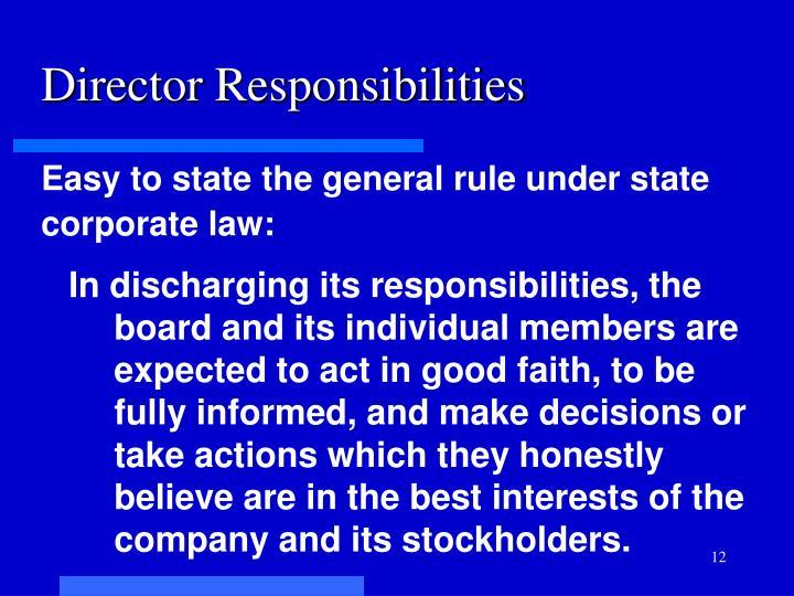 Director Responsibilities