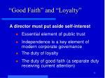 good faith and loyalty