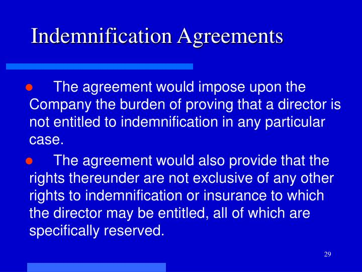 Indemnification Agreements