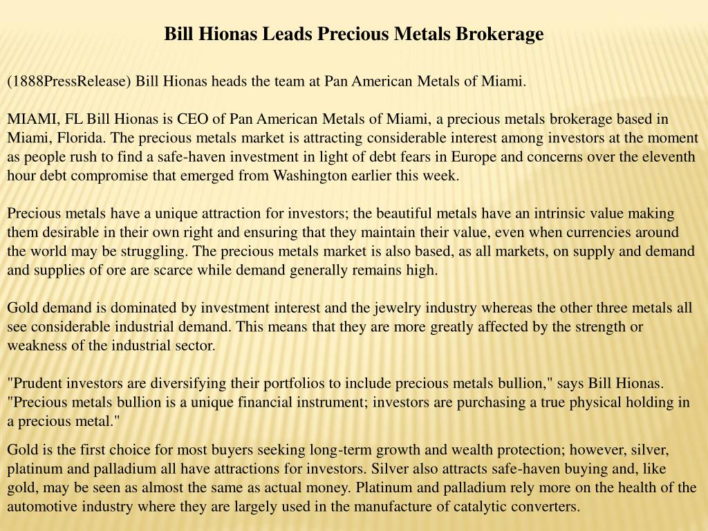Bill Hionas Leads Precious Metals Brokerage
