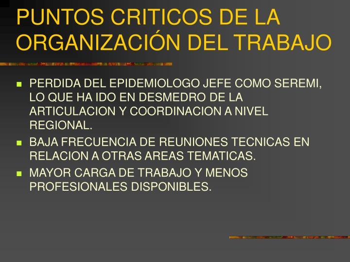 PUNTOS CRITICOS DE LA ORGANIZACIÓN DEL TRABAJO