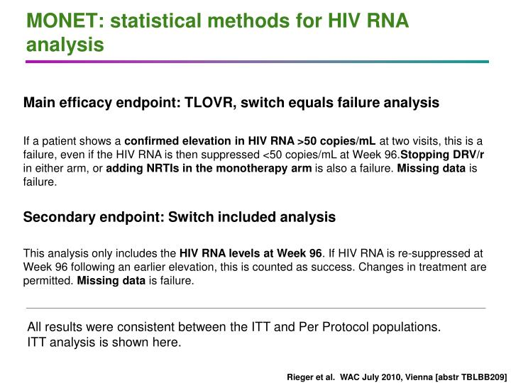 Monet statistical methods for hiv rna analysis
