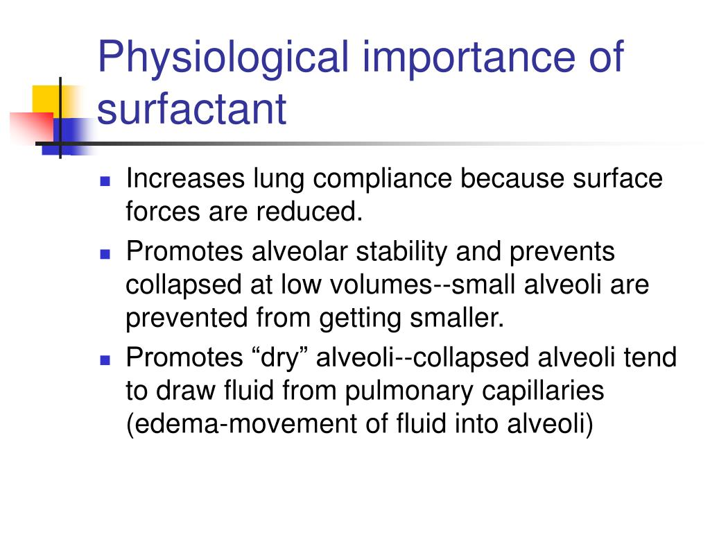 Physiological importance of surfactant