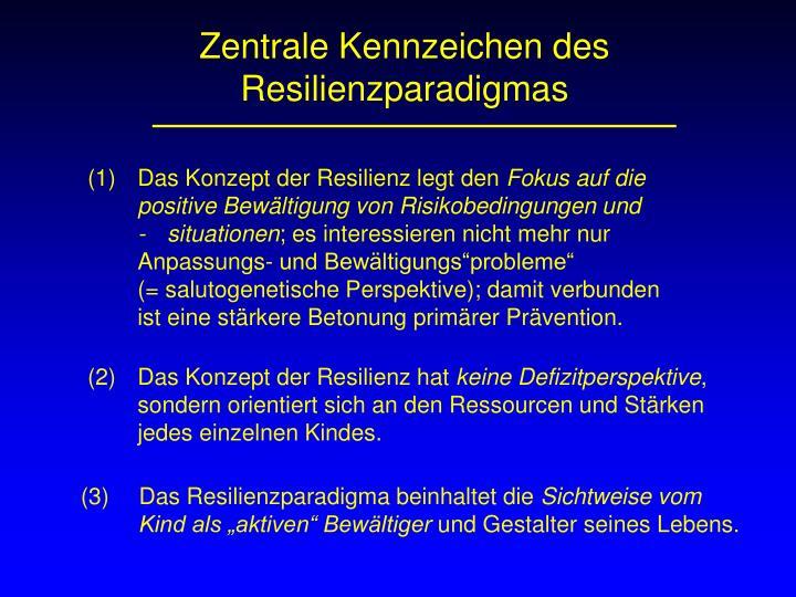 Zentrale Kennzeichen des Resilienzparadigmas