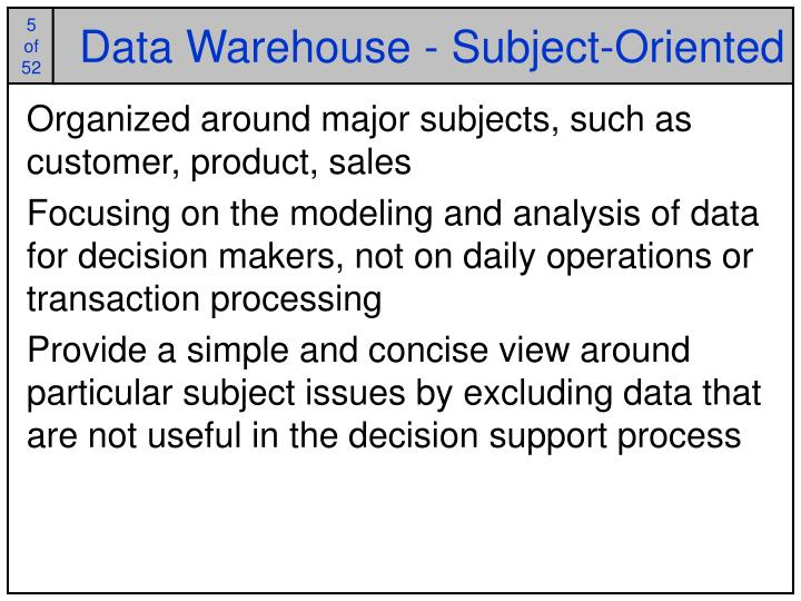 Data Warehouse - Subject-Oriented