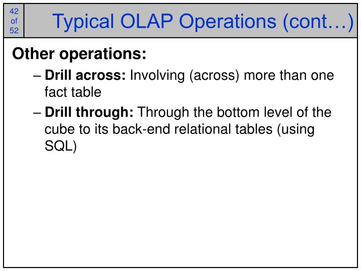 Typical OLAP Operations (cont…)