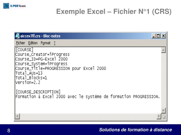 Exemple Excel – Fichier N°1 (CRS)