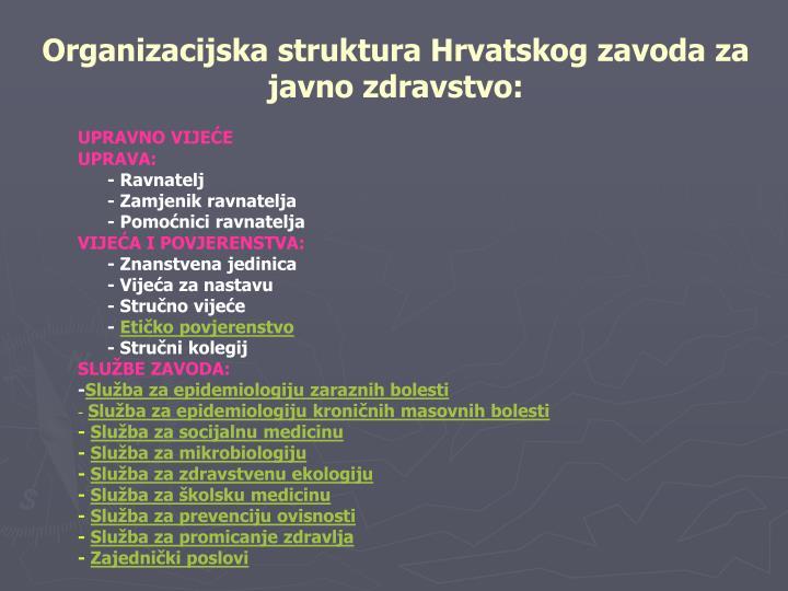 Organizacijska struktura Hrvatskog zavoda za javno zdravstvo: