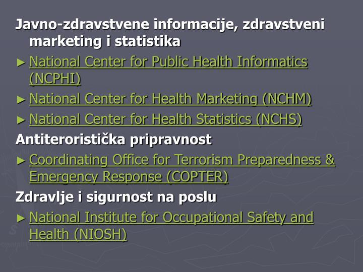 Javno-zdravstvene informacije, zdravstveni marketing i statistika