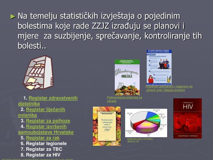 Na temelju statističkih izvještaja o pojedinim bolestima koje rade ZZJZ izrađuju se planovi i mjere  za suzbijenje, sprečavanje, kontroliranje tih bolesti..